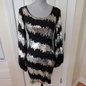 Black with Silver Sequin Body Con Dress NWT